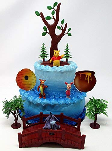 Winnie the Pooh Deluxe Birthday Cake Topper Set Featuring Pooh and Friends Figures and Decorative Themed Accessories