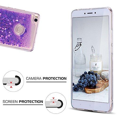 Funda Xiaomi Mi Max 2, Caselover 3D Bling Silicona TPU Arena Movediza Carcasa para Xiaomi Max 2 Glitter Líquido Brillar Lentejuelas Suave Transparente Cristal Protección Caso Anti Arañazos Tapa Choque Púrpura