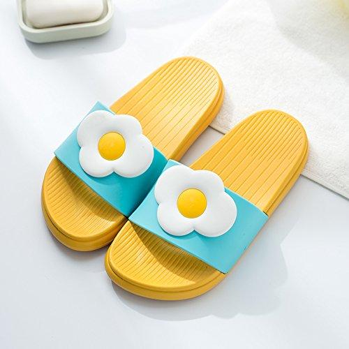 caricatura verano permanezca El Fankou femenina nbsp;Zapatillas fresco casa antideslizante Zapatillas huevos baño de 38 de verano masculinas espeso parejas verano 0RIq6