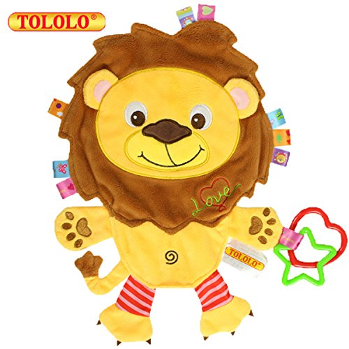 (Cartoon Animal Plush Toy Baby Sleeping Toy No Lint Newborn Comfortable Terry Cloth for 0-18 Months Baby - Can Bite (Elephant Pig Lion Cow) ,Lion)