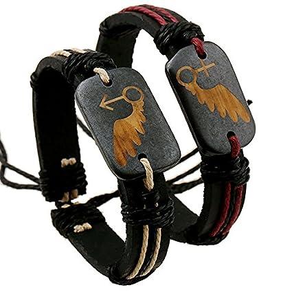 pfbvgsdgf coppia gioielli bracciali braccialetto fatto a mano intrecciato pelle manzo Bone–maschio Brown
