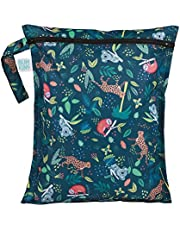 'Bumkins Waterproof Wet Bag, Washable, Reusable for Travel, Beach, Pool, Stroller, Diapers, Dirty Gym Clothes, Wet Swimsuits, Toiletries, 12x14 - Jungle