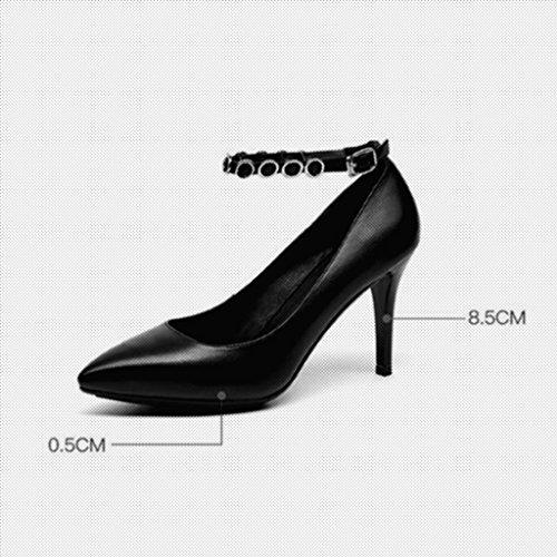 wies MUMA flacher EU39 Schuhe Heels weibliche Schuhe Heels UK6 Mund Weiß feine Pumps Einzelne High CN39 größe Farbe weiße Sq8wB4S