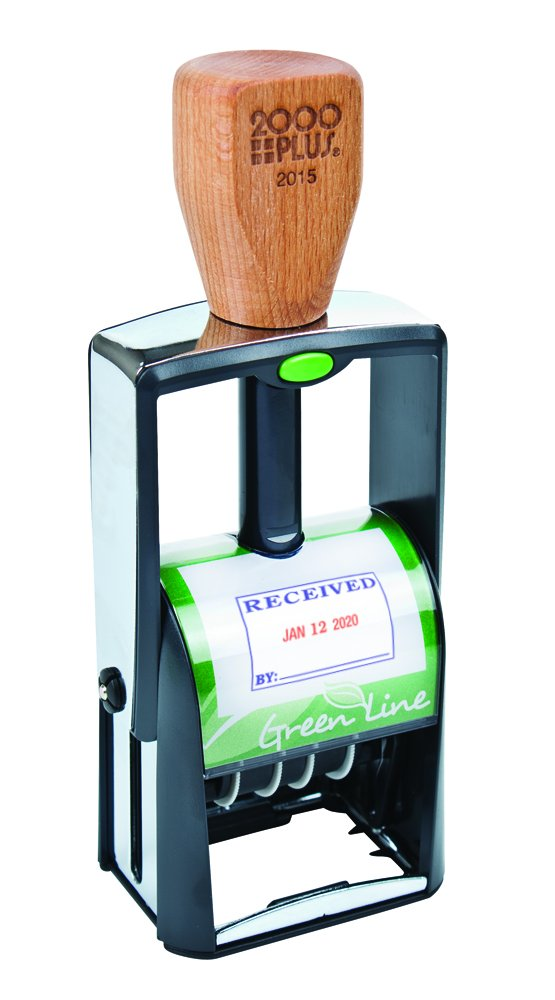 2000PLUS Green Line, 4-In-1 Date Stamp, Self-Inking, Red and Blue Ink (039315)
