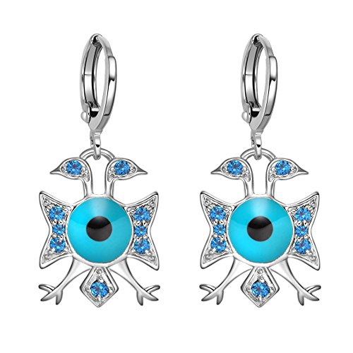 (American Eagle and Evil Eye Protection Powers Amulets Silver-Tone Royal Blue Sparkling Crystals Earrings)