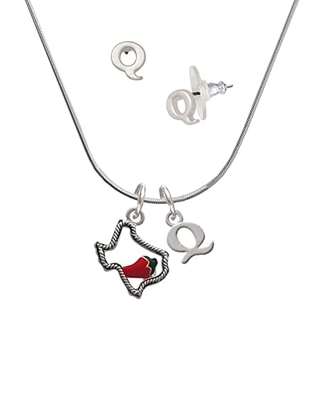 Silvertone Texas esquema con Jalapeno - Q inicial encanto collar y pendientes joyería Set: Amazon.es: Joyería