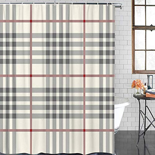 OneHoney Custom Beige Red Black Plaid Pattern Bathroom Shower Curtain,Durable Waterproof Polyester Fabric Bath Curtains Set for Tub Extra Long 72x72inch (Red Curtains Beige And Check)