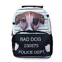 Crazy Genie Fashion Casual Hiking Daypacks Boys Girls School Backpack Bags Multicoloured 3D Animal Print Deep Stereographic Felt Fabric (Dog)