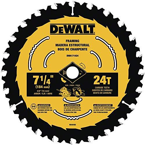 DEWALT DWA171424B10 7-1/4-Inch 24-Tooth Circular Saw Blade, 10-Pack
