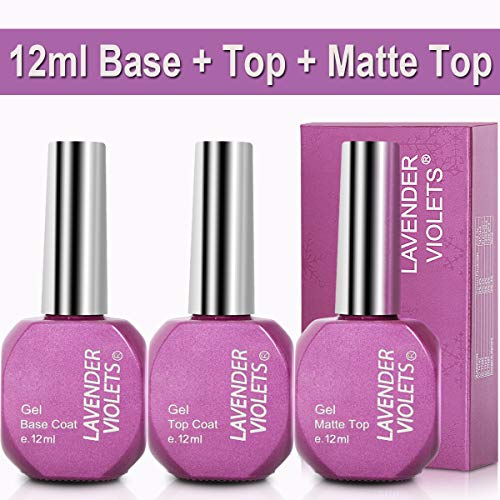 (No Wipe Gel Top Coat n Base Coat n Matte Top Coat Set 12ml/0.4 Oz F807)