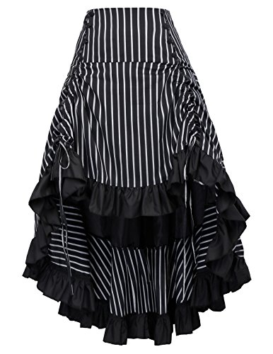 Black Victorian Renaissance Bustle Skirt Steampunk Pirate Skirt BP345-2 S]()
