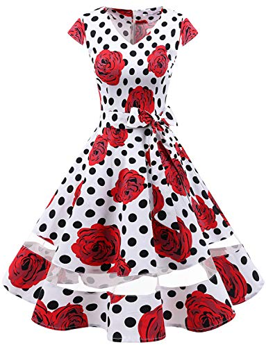 Gardenwed Women's 1950s Rockabilly Cocktail Party Dress Retro Vintage Swing Dress Cap-Sleeve V Neck White Rose Dot 2XL