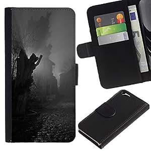 Planetar® Modelo colorido cuero carpeta tirón caso cubierta piel Holster Funda protección Para Apple (4.7 inches!!!) iPhone 6 ( Estatua de adoquines Negro Blanco)