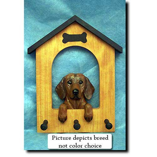 Michael Park Dachshund (Black and Tan) Doghouse Leash Holder