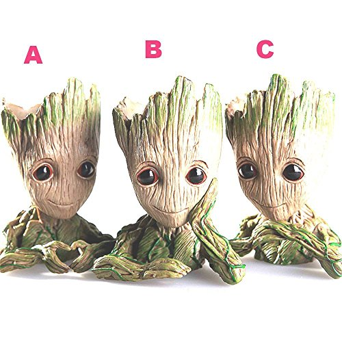 Tree Man Baby Anime Action Figure Dolls Penholder Grunt Guardians of The Galaxy 2 Model Hero pen pot and flower pot Toys (A)