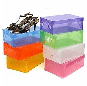 5 x Foldable Plastic Shoe Storage Boxes Stackable Box Organiser with Lid,Color Random