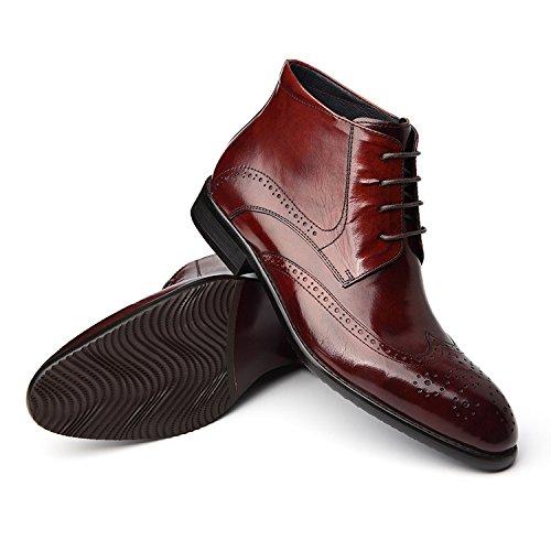 WZG botas de invierno los hombres de Inglaterra Bullock tallados complejos botas Guma Ding, además de las botas de terciopelo zapatos casuales wine red