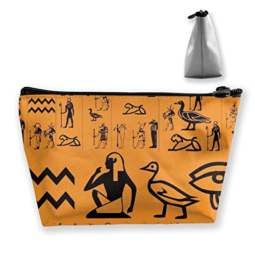 Women Girls Make Up Bag Pouch for Toiletry Jewelry Travel, Large Capacity Cosmetic Train Case Multifunction Handbag Waterproof Luggage Pouch (Ancient Egypt Clipart Orange) ()