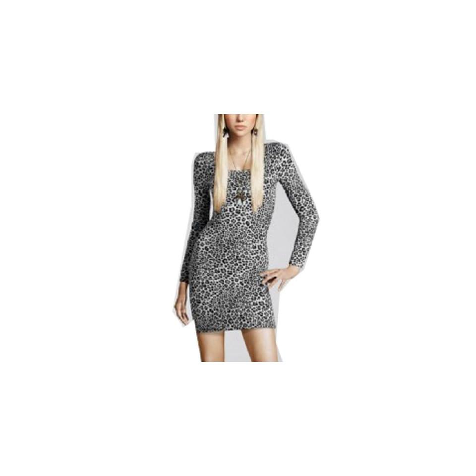 Wiipu Womens long sleeve leopard prinred slim dress(WP J152)  X Small