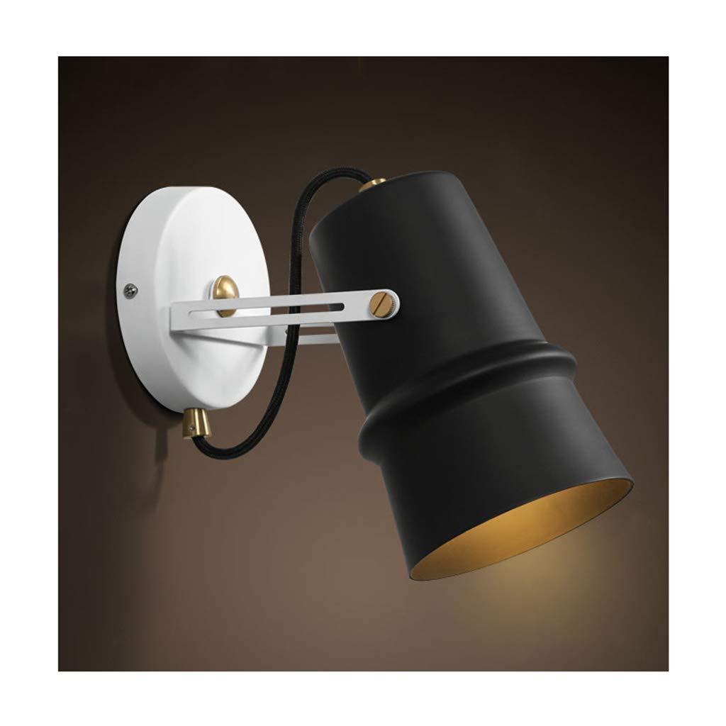 Wandleuchte E27 Moderne minimalistische Schmiedeeisen lösen Nachtlicht Wandleuchte (Farbe   SCHWARZ-Warmes Licht)