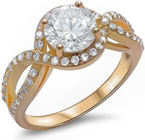 1.50ct Yellow Gold Plated Halo Solitaire .925 Sterling Silver Ring Sizes 4-12