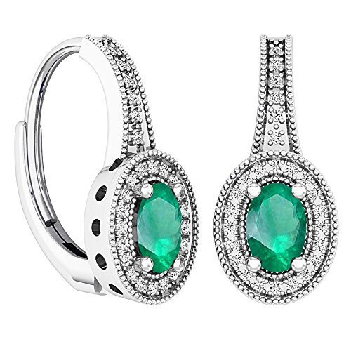 White Gold 6x4mm Oval Emerald - 5