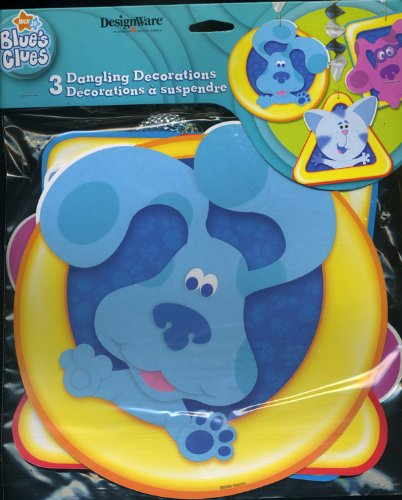 Blues Clues Birthday - 1 X Blue's Clues 3 Dangling Decorations (Blue, Magenta & Periwinkle) Foil Disc Hangers