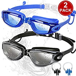 SBORTI Swim Goggles Swimming Goggles, Pack of 2 No Leaking Anti Fog UV Protection Swim Glasses Water Goggles Triathlon…