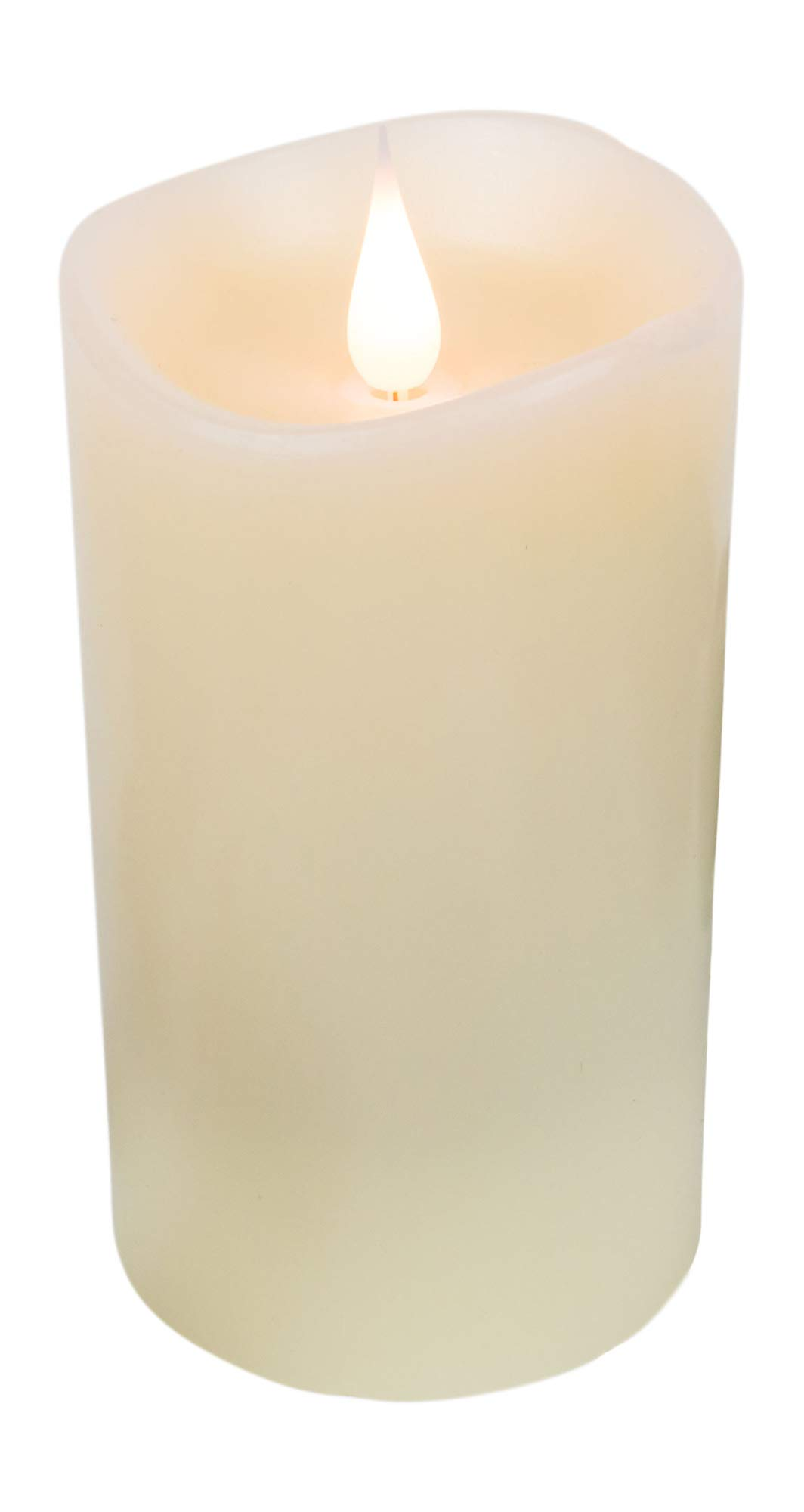FLAMELESS CANDLES with Realistic Flickering Flame - Authentic Candle Light for a Relaxing, Beautiful home; Real Wax Pillar with Timer, Battery Operated LED, Unscented, Ivory White, 3x5''