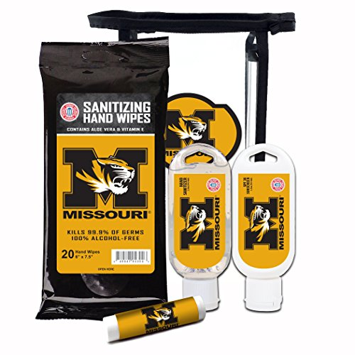 Worthy Promotional NCAA Missouri Tigers 4-Piece Premium Gift Set with SPF 15 Lip Balm, Sanitizer, Wipes, Sunscreen