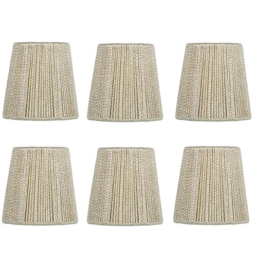 Upgradelights 4 Inch Hand Strung Retro Drum Clip On Chandelier Lamp Shades (Set of six).