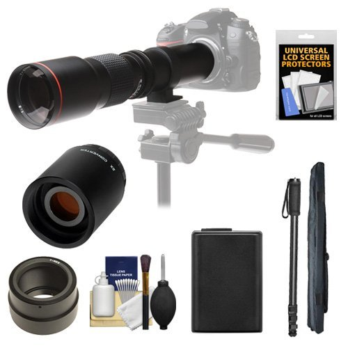 Vivitar 500mm f/8 0 Telephoto Lens with 2x Teleconverter (=1000mm) + NP-FW50 Battery + Monopod Kit for Sony Alpha A3000 A5000 A5100 A6000 A7 A7R A7S E-Mount Cameraの商品画像