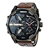 Diesel Watches DZ7314 Mr Daddy Dual Time Chronograph Navy Blue Dial Leather Men's Watch