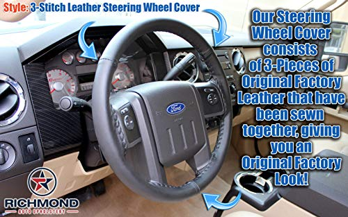 - Richmond Auto Upholstery: Compatible with 2008-2010 Ford F250 F350 F450 F550 XL Work Truck - Leather Steering Wheel Cover, Black
