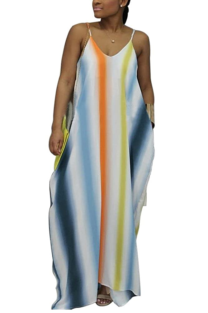 c7dd280031e2 Sleeveless, Spaghetti Strap, Deep V Neck, V Neck Back, Floor Length, Side  Pockets, Tie Dye, Colorful Stripe Floral Maxi Dresses/Sundresses for Women  ...