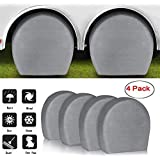 ACUMSTE Set of 4 RV Tire Covers, Tire Covers for RV Wheel Motorhome Wheel Covers Waterproof UV Coating Tire Protectors for Trailer Truck Camper Auto Fits 29