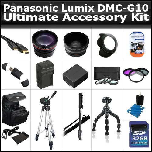 32GB Ultimate Accessory Kit For The Panasonic Lumix DMC-G10 12.1 MP Includes 32GB High Speed SD Memory card + Extended Replacement DMW-BLB13 (1500 mAH) Battery + Ac/Dc Rapid Travel Charger + Deluxe Carrying Case + 50 Inch Pro Tripod + Monopod + Much More by ButterflyPhoto