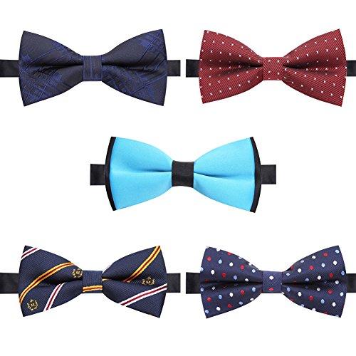 AUSKY 5 PACKS Elegant Adjustable Pre-tied bow ties for Men Boys in Different Colors (K)