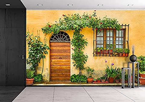 wall26 - Beautiful Porch Decorated with Flowers in Italy - Removable Wall Mural | Self-adhesive Large Wallpaper - 100x144 (Tuscany Mural)