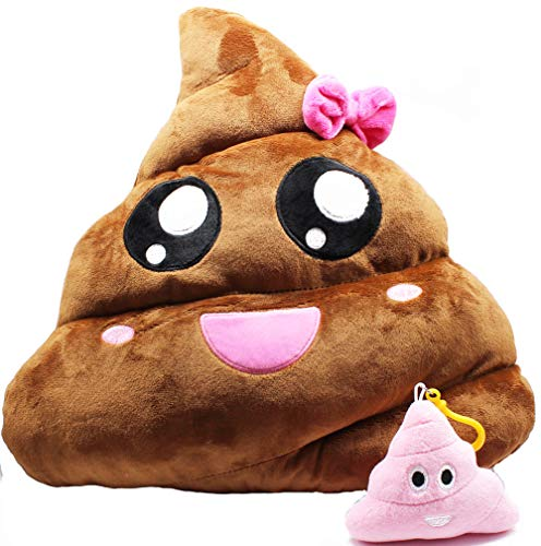 Cute Poop Emoji Throw Pillow - 14 inch Manual Cartoon Brown and Pink Soft Plush Stuffed Sofa Cushion - Home Decor Travel Buddy - Adorable Emoticon Creative Funny Doll Toy, Easter Party Favor, Set of 2]()