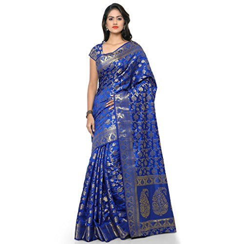 Varkala Silk Sarees Women's Tussar Silk Kanchipuram Saree With Blouse Piece_(ND1021RB_Blue) by Varkala Silk Sarees