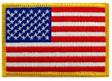 American Flag Embroidered Patch Gold Border USA United States of America Military Uniform Emblem