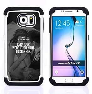 For Samsung Galaxy S6 G9200 - keep her love word heartbreak couple Dual Layer caso de Shell HUELGA Impacto pata de cabra con im????genes gr????ficas Steam - Funny Shop -
