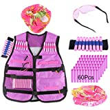 Tactical Vest Kit, WOLFBUSH Kids Elite Defense Waistcoat for Nerf -with 60 Foam Darts + Goggles + Face Mask + Bullet Wrist Band