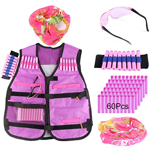 Tactical Vest Kit, WOLFBUSH Kids Elite Defense Waistcoat for Nerf -with 60 Foam Darts + Goggles + Face Mask + Bullet Wrist Band by WOLFBUSH