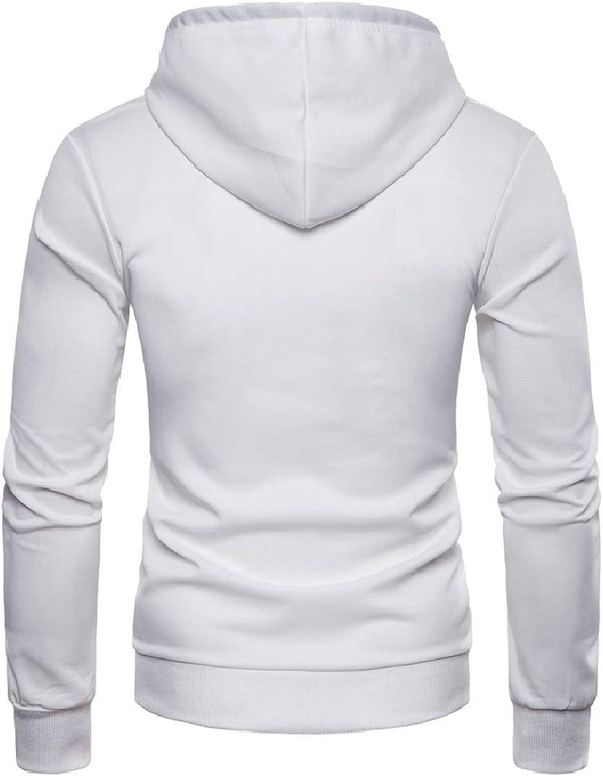 YUNY Mens Contrast Hooded Fashional Tassel Jacket Pullover Sweatshirt White M