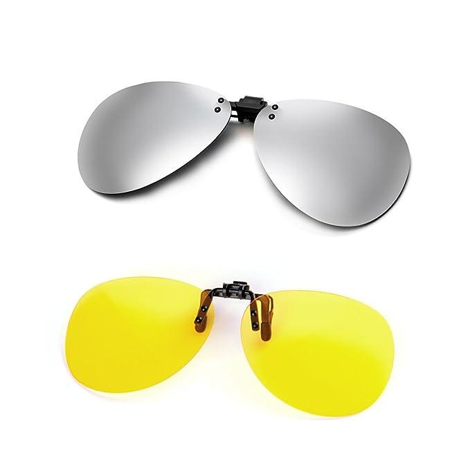 Cyxus Aviator Flash Polarized Mirrored Lenses Classic Sunglasses Clip On Glasses [Anti glare] [UV Protection] DrivingFishing Eyewear, Mens & Womens