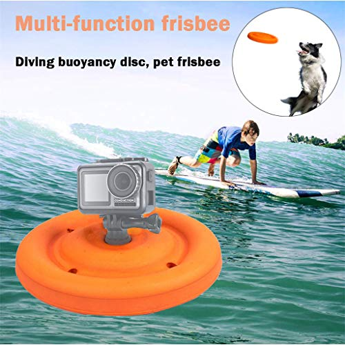 Fullwei Action Camera Tripod Adapter Bracket + Frisbee Floating Disc Buoyancy Frisbee for Dogs Frisbee Flying Saucer Buoyancy Ball Buoy Holder for DJI Osmo Action Camera (Yellow)