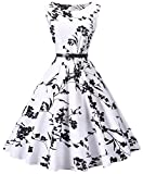 I2CRAZY Womens Boatneck Sleeveless Vintage 1950s Retro Rockabilly Prom Tea Dress with Belt  ,3X , F02