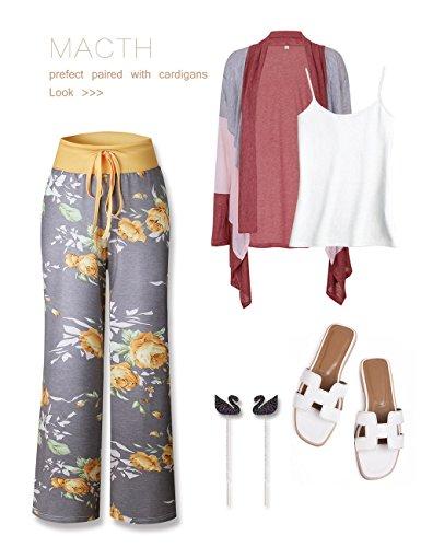Pantalones Pijama Alta Pierna Estampado Cintura Amarillo Floral De Ancha Exlura Femeninos Con Palazzo dwOqPnRI
